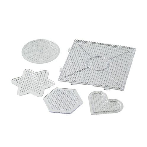 Nabbi® - Legeplatte Formen Mix 8,5 x 7,5 - 15 x 15 cm 5 Stk. transparent