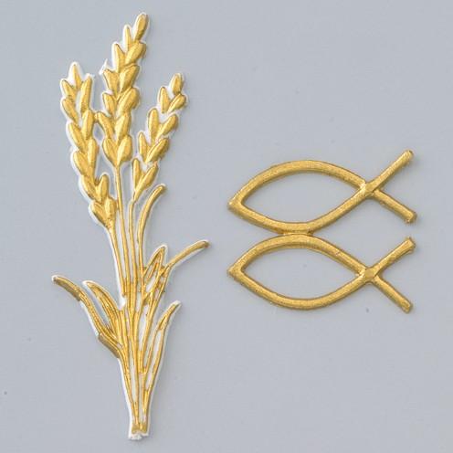 Wachsdekor Ähre + Christliche Fische 90 x 30 mm, 40 x 15 mm 3 - teilig gold