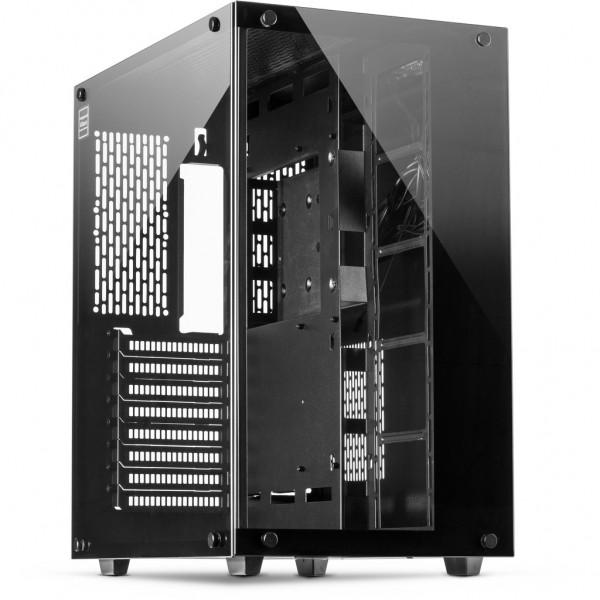 Inter-Tech C-701 Panorama - Full-Tower - PC - Metall - Gehärtetes Glas - Schwarz - ATX,ITX,Micro ATX
