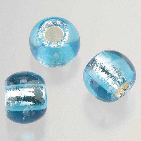 Glasperle Großloch 12 mm / 4 mm 5 Stk. hellblau silber