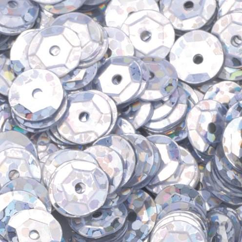 Pailletten, rund, gewölbt ø 6 mm 5 g / ~ 500 Stk. silber hologramm