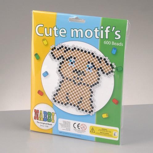 Nabbi® - Bügelperlen Motiv Set Hund mit Zubehör ~Ø 5 x H 5 mm 600 Stk.