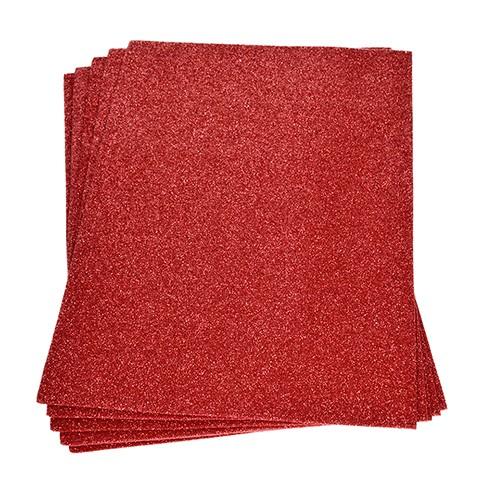 Moosgummiplatte Glitter 200 x 300 x 2 mm rot