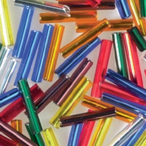 Stiftperlen Silbereinzug ø 2 x 11 mm 500 g farbig sortiert