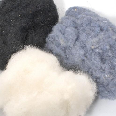 Wolle zum Filzen reine Schurwolle 50 g schwarz Mix