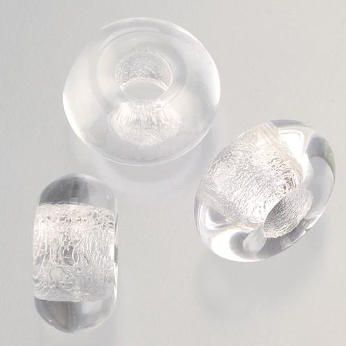 Glasperle Ring Großloch 11 x 17 mm / 6 mm 3 Stk. kristall