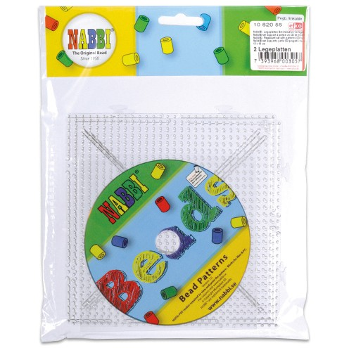 Nabbi® - Legeplatten Set inklusive Vorlagen CD 15 x 15 cm 2 Legeplatten transparent