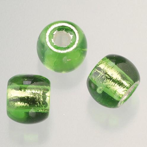 Glasperle Großloch 12 mm / 4 mm 5 Stk. hellgrün silber