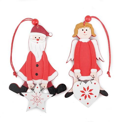 Anhänger Holz Weihnachtsmann Engel sortiert 6 x 11,5 / 8 x 11,5 cm rot weiß
