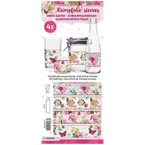Schrumpfbanderolen Sweet Flowers 26 x 7 / ø max.8 cm 4 Stück 18