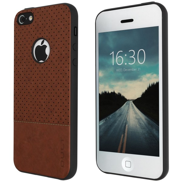 "BACK CASE QULT """"DROP"""" iPhone 5/5S/SE brown"