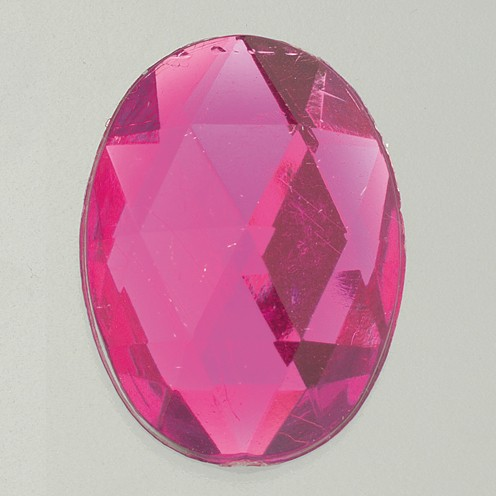 Schmucksteine Acryl facettiert Set Oval 8x10 / 10x14 / 13x18 / 18x25mm 30 / 10 / 10 / 2 Stk. pink
