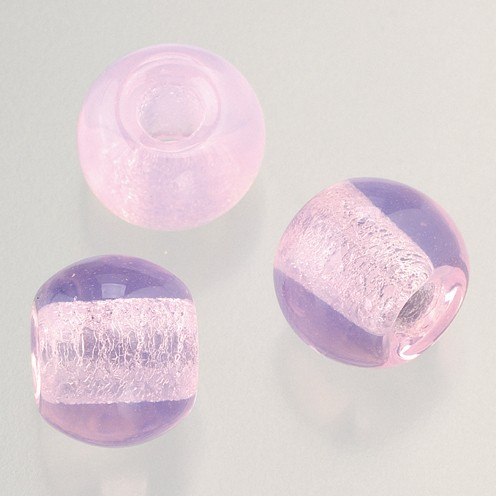 Glasperle Großloch 12 mm / 4 mm 5 Stk. rosa opal