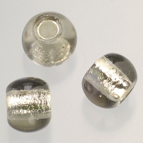 Glasperle Großloch 12 mm / 4 mm 5 Stk. grau silber