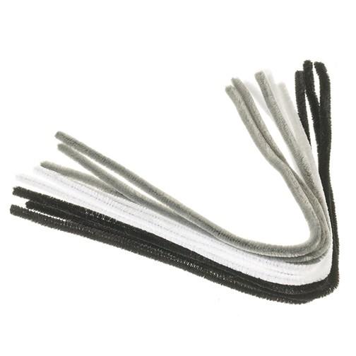 Pfeifenputzer ø 8 mm / 50 cm 9 Stk. weiß, grau, schwarz