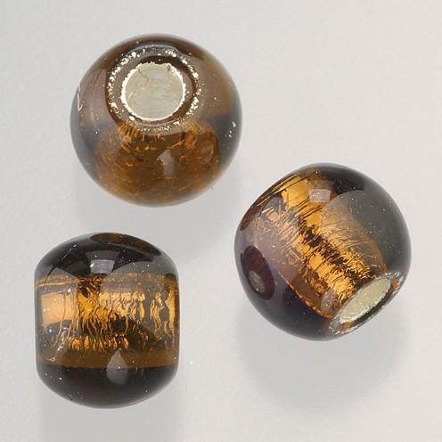 Glasperle Großloch 12 mm / 4 mm 5 Stk. braun silber