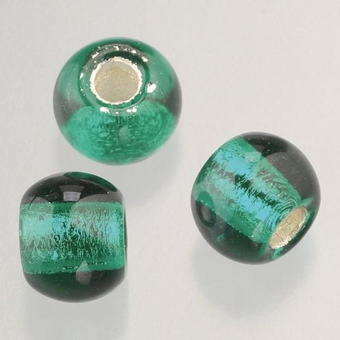 Glasperle Großloch 12 mm / 4 mm 50 Stk. grün silber