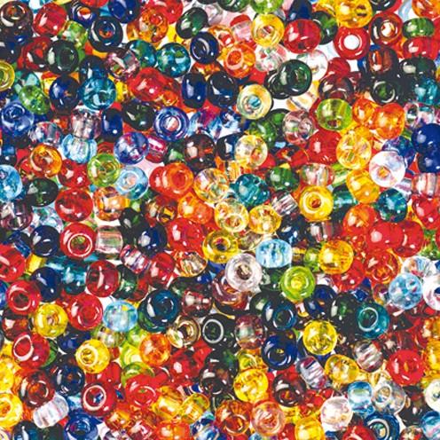 Indianerperlen transparent ø 3,5 mm 500 g farbig sortiert