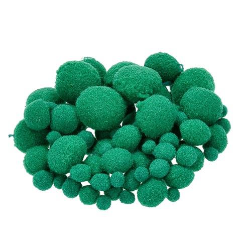 Pompons für Dekorationen 7, 10, 15, 20, 25 mm 75 Stk. grün